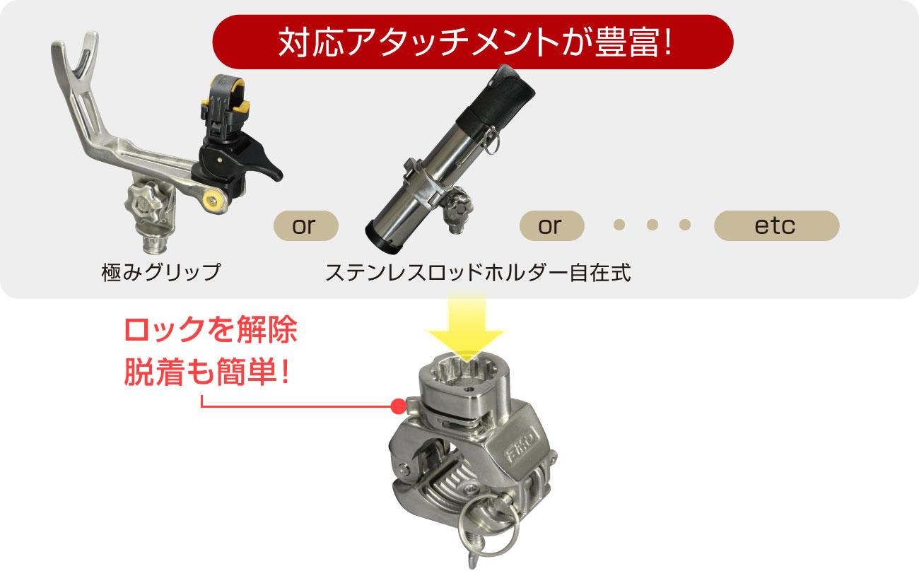 BMOフィシングギアのアタッチメントが取付可能。各種アタッチメントはロックで簡単脱着できます。