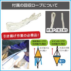 回収ロープ特徴(付属の回収ロープについて)_ 回収ロープを使用してシーアンカーを引き上げた場合、水が抜けるから軽く引き上げが出来ます。片側にアイ加工あり。